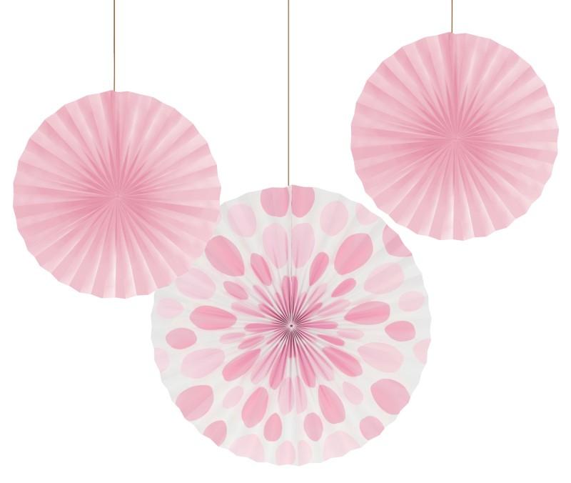 """Dekoracijos-vėduoklės """"Švelniai rožiniai lašeliai"""" (3 vnt.)"""