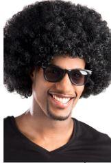 Afro perukas, juodas