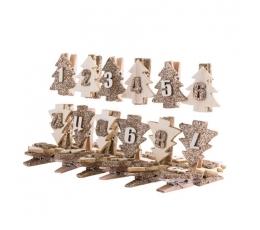 """Advento kalendoriaus segtukai """"Auksinės eglutės"""" (3,5 cm)"""