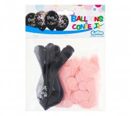 """Balionai """"Boy or Girl?"""", su rausvais konfeti (4 vnt./30 cm) 1"""