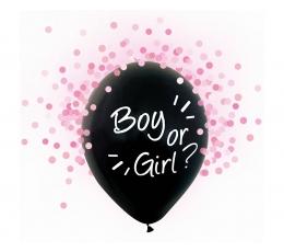 """Balionai """"Boy or Girl?"""", su rausvais konfeti (4 vnt./30 cm)"""