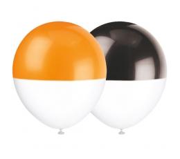 Balionai, dvispalviai juodi-oranžiniai (6 vnt./30 cm)