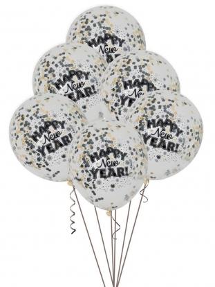 """Balionai """"Happy New Year"""" su konfeti (6 vnt.)"""