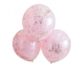 Balionai, rausvi su rožinio aukso konfeti (3 vnt.)