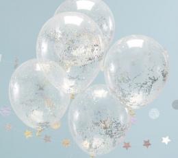 Balionai, skaidrūs su holografiniais konfeti (5 vnt.) 1