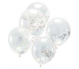 Balionai, skaidrūs su holografiniais konfeti (5 vnt.)
