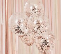 Balionai, skaidrūs su rožinio aukso smulkiais konfeti (5 vnt./30 cm) 1