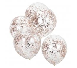 Balionai, skaidrūs su rožinio aukso smulkiais konfeti (5 vnt./30 cm)