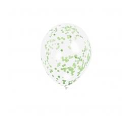 Balionai, skaidrūs su salotiniais konfeti (6 vnt.)