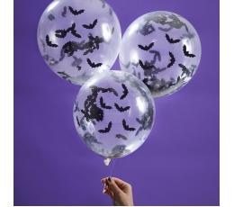 "Balionai su konfeti ""Šikšnosparniai"" (5 vnt./30 cm)"