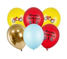 """Balionų rinkinys 1-am gimtadieniui """"Mašinėlės"""" (6 vnt./30 cm)"""