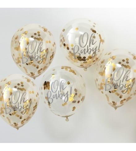 "Balionai su aukso konfeti ""Oh Baby"" (5 vnt./30 cm)"