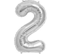 """Folinis balionas """"2"""", sidabrinis (85 cm)"""