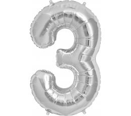 """Folinis balionas """"3"""", sidabrinis (85 cm)"""