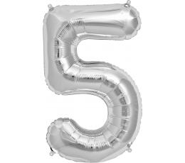 """Folinis balionas """"5"""", sidabrinis (85 cm)"""