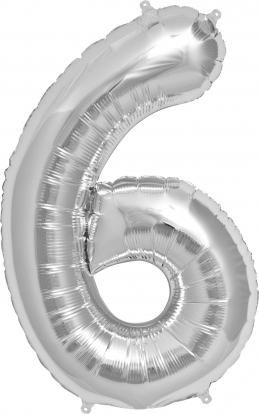 """Folinis balionas """"6"""", sidabrinis (85 cm)"""