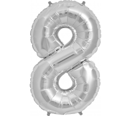"""Folinis balionas """"8"""", sidabrinis (85 cm)"""