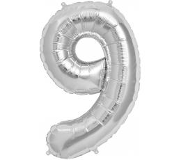 """Folinis balionas """"9"""", sidabrinis (85 cm)"""