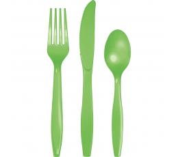 Stalo įrankių rinkinys, ryškiai salotinis (24 vnt.)