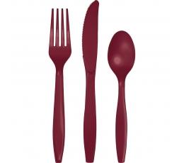 Stalo įrankių rinkinys, burgundiškas (8-iems asmenims)
