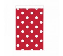 Mini dovanų maišeliai, taškuotai raudoni (20 vnt.)