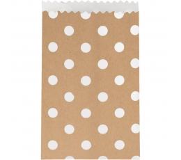 """Mini dovanų maišeliai, taškuoti """"Kraft"""" (20 vnt.)"""