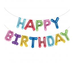 """Folinių balionų rinkinys """"Happy birthday"""", spalvotas (35 cm)"""