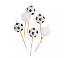"""Žvakutės-smeigtukai """"Futbolo kamuoliai"""" (6 vnt.)"""