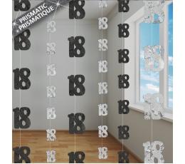 """Kabančios dekoracijos """"18"""", juodos-sidabrinės (6 vnt./1,5m)"""