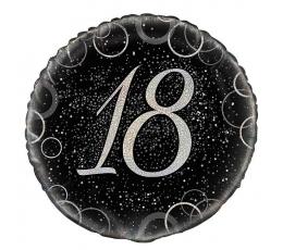 """Folinis balionas """"18"""", juodai sidabrinis (45 cm)"""