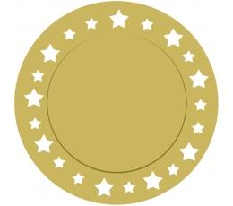 Kartono padėkliukai, auksiniai žvaigždėti (6 vnt./33 cm)