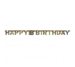 """Girlianda """"Happy 18th Birthday"""", sidabrinė-auksinė (2,13 m)"""