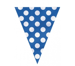 Vėliavėlių girlianda, taškuotai mėlyna (3,65 m)
