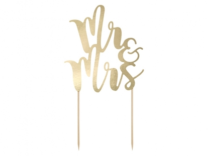 "Torto dekoracija ""Mr&Mrs"", auksinė"