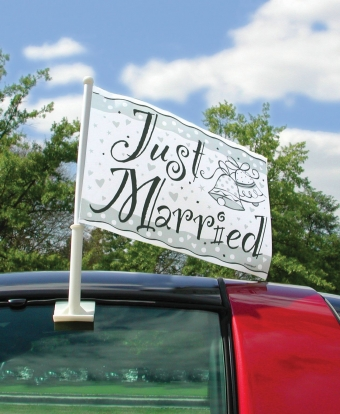 "Automobilinė vėliavėlė ""Just married"""
