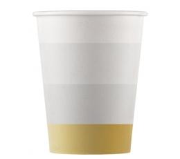 Puodeliai, auksinės-rudos juostos (8 vnt./200 ml)