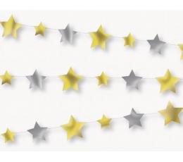 Girlianda, sidabrinės-auksinės žvaigždutės (2,13 m)