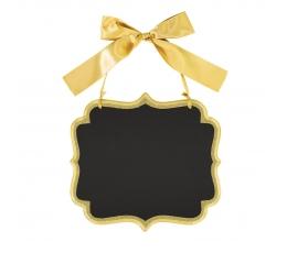 Kreidinė lentelė, kabanti auksinė (25x23 cm)