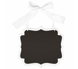 Kreidinė lentelė, kabanti balta  (25x23 cm)