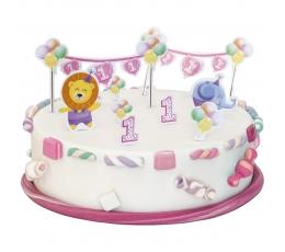 """Torto dekoravimo rinkinys """"1-asis mergaitės gimtadienis"""""""