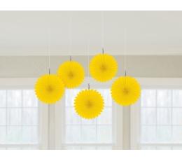 Kabančios dekoracijos-vėduoklės, geltonos (5 vnt.)