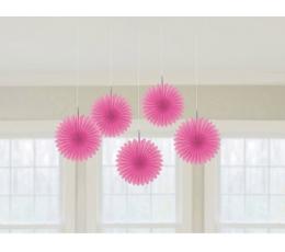 Kabančios dekoracijos-vėduoklės, rožinės (5 vnt.)