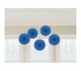 Kabančios dekoracijos-vėduoklės, mėlynos (5 vnt.)