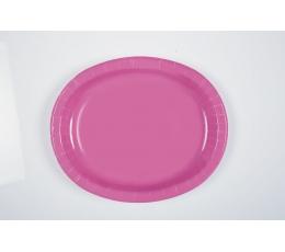 Lėkštutės, rožinės ovalios (8 vnt./30 cm)