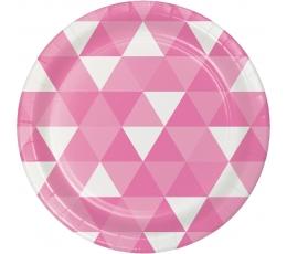 """Lėkštutės """"Rožinės figūros"""" (8 vnt./18 cm)"""