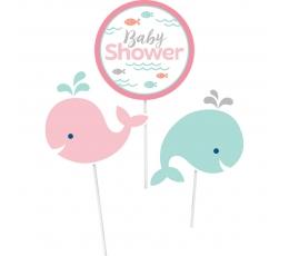 """Įsmeigiamos dekoracijos """"Banginiukė.Baby Shower"""" (3 vnt.)"""