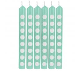 Свечи для торта, бирюзового цвета в горошек (12 шт)