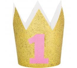 """Karūnėlė """"1-asis gimtadienis"""", auksinė-rožinė"""