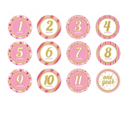 """Lipdukai """"Pirmieji metai"""", rožiniai blizgūs (12 vnt.)"""