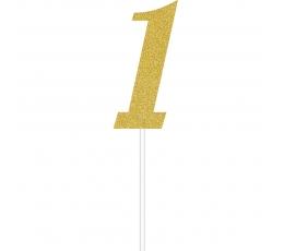 "Torto dekoracija ""1"", auksinė blizgi"